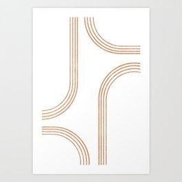 Mid Century Modern 1 - Geometrical Abstract - Minimal Print - Terracotta Abstract - Burnt Sienna Art Print