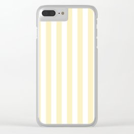 Narrow Vertical Stripes - White and Blond Yellow Clear iPhone Case
