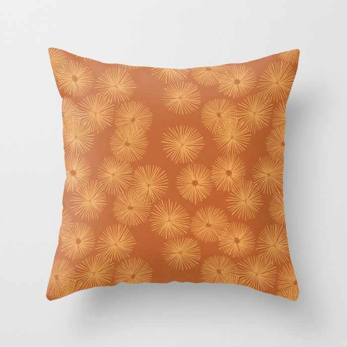 Orange Nasturtium Seamless Patten Throw Pillow