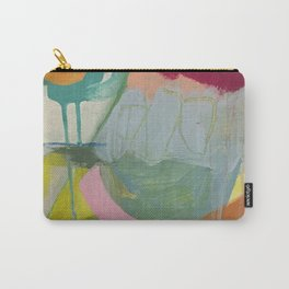 """first impressions"" abstract painting in fresh colors pink, blue and yellow by Carry-All Pouch"