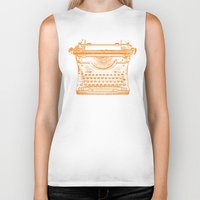 typewriter Biker Tanks featuring Typewriter by Jessica Slater Design & Illustration