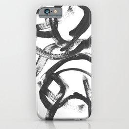 Interlock black and white paint swirls iPhone Case