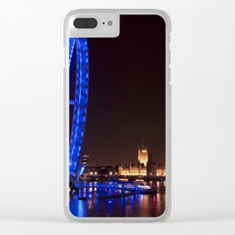 London eye and Big Ben at night Clear iPhone Case