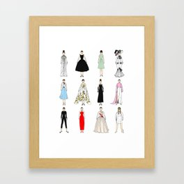 Outfits of Audrey Hepburn Fashion (White) Framed Art Print