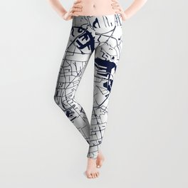 Amsterdam White on Navy Street Map Leggings
