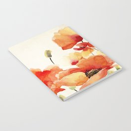 Poppy Flower Meadow- Floral Summer lllustration Notebook