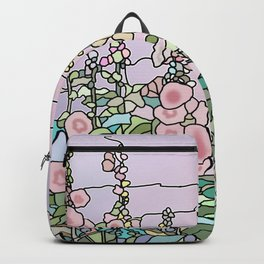 flowers and leaves on purple background .art Backpack