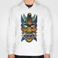 chinese Hoodies featuring Chinese Mask by Ron Trickett