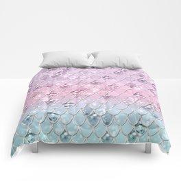 Mermaid Princess Glitter Scales #1 #shiny #pastel #decor #art #society6 Comforters