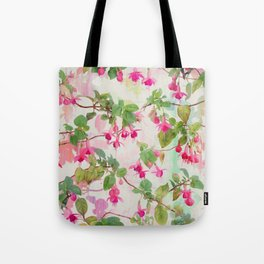 Rainbow Fuchsia Floral Pattern Tote Bag