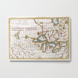 Vintage Map of The Great Lakes & Canada (1780) Metal Print