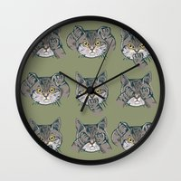 evil Wall Clocks featuring No Evil Cat by Huebucket