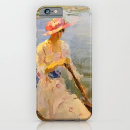 Isaac Lazarus Israels - oung Woman Rowing On The Thames - Digital Remastered Edition iPhone Case
