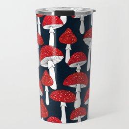 Red mushrooms field on navy blue Travel Mug