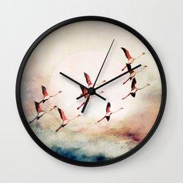 Flock of Flamingos Wall Clock
