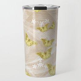 Gold butterflies on stormy iced-coffee flower mandala Travel Mug