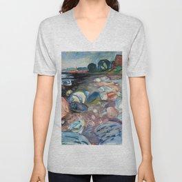 Edvard Munch - Shore with Red House Unisex V-Neck