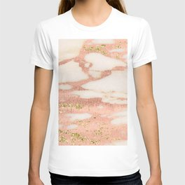 Marble - Rose Gold Shimmer Marble with Yellow Gold Glitter T-shirt