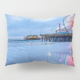 Santa Monica Pier Sunset Califorina Los Angeles Beach Landscape Pillow Sham