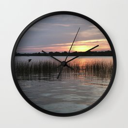 Grass Island Sunset Wall Clock