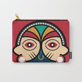 Round Tribal Mask Carry-All Pouch