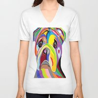 bulldog V-neck T-shirts featuring Bulldog by EloiseArt