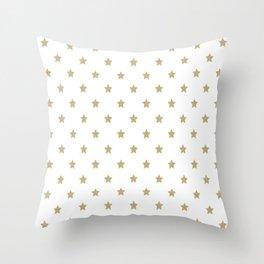 Gold Glitter Star Pattern Throw Pillow