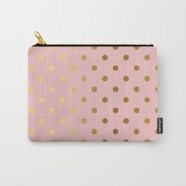 Gold polka dots on rose gold background - Luxury pink pattern Carry-All Pouch