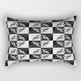 Swimming Glyphs and Sunflowers: Checkered Version Rectangular Pillow