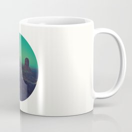 Mid Century Modern Round Circle Photo Graphic Design The Grand Canyon With Green Sunset Sky Coffee Mug
