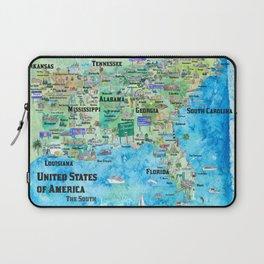 USA Southern States Travel Poster Map Florida Louisiana Mississippi Arkansas Carolinas Georgia Laptop Sleeve