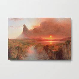Ecuadorian Andes at Sunset, Cotopaxi volcano plains landscape painting by Frederic Edwin Church Metal Print
