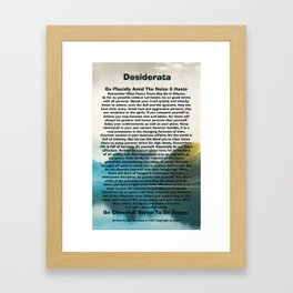 Inspirational Typography Wall Art, Lakeside Mountain, Desiderata Poem by Max Ehrmann Framed Art Print