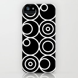 Circles - White on Black 1 iPhone Case