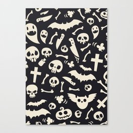 Halloween Symbols Pattern Contrast Canvas Print