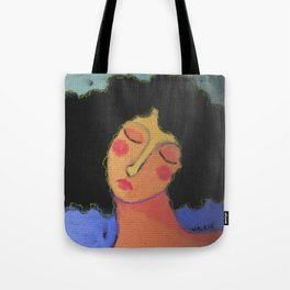 Woman with Frizzy Hair Abstract Digital Painting  Tote Bag