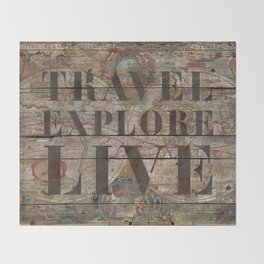 Travel Explore Live (Old Map) Throw Blanket