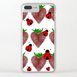 Strawberries And Ladybugs Clear iPhone Case