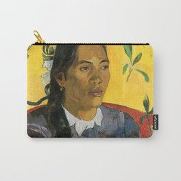 Tahitian Woman with a Flower by Paul Gauguin Carry-All Pouch
