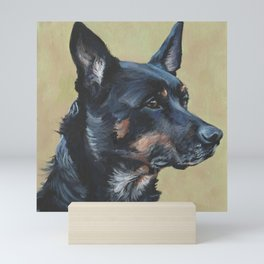 Australian Kelpie portrait dog art from an original painting by L.A.Shepard Mini Art Print