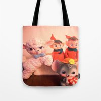 pixies Tote Bags featuring Pixies gathers with lamb and mouse by Vintage  Cuteness