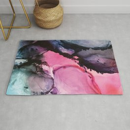 Pink and Navy Alcohol Ink Painting Rug