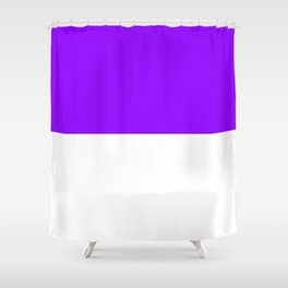 White and Violet Horizontal Halves Shower Curtain