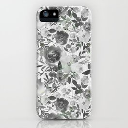 Black gray white hand painted floral stripes pattern iPhone Case