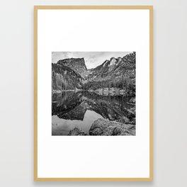 Dream Lake and Hallet Peak - Monochrome Framed Art Print