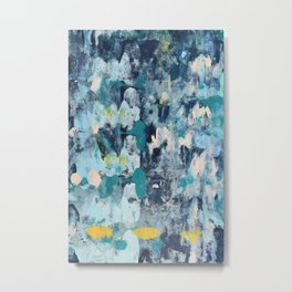 015.2: a bright contemporary abstract design in blues pinks and yellow by Alyssa Hamilton Art  Metal Print