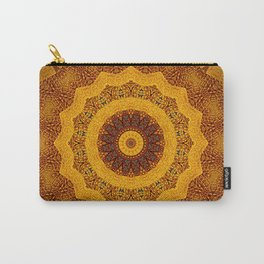 Bright Gold and Brown Mandala Carry-All Pouch