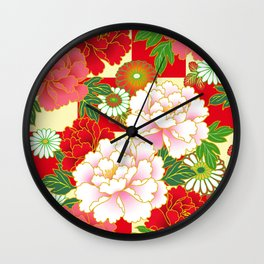 Red Pink Peony Vintage Japanese Floral Kimono Pattern Wall Clock