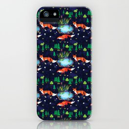 Red Fox In Forest Illustration Seamless Pattern V.01 iPhone Case