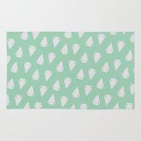 green arrow Area & Throw Rugs featuring Arrow heads - Mint Green / Hemlock by alterEGO
